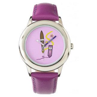 Cartoon Crayon and Paintbrush Watch