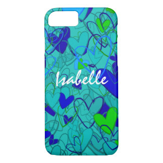 Cartoon Crazy Hearts Blue Bold Happy Mess Girly iPhone 7 Case