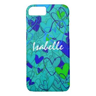 Cartoon Crazy Hearts Blue Bold Happy Mess Girly iPhone 8/7 Case