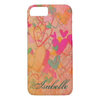 Cartoon Crazy Hearts Cheerful Nostalgic Cute Girly iPhone 7 Case
