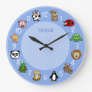 Cartoon Critters w/ Name Template Large Clock