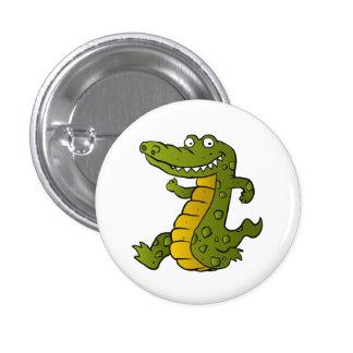 Cartoon crocodile. 1 inch round button