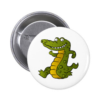 Cartoon crocodile. 2 inch round button