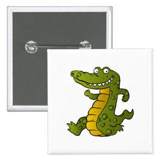Cartoon crocodile. 2 inch square button