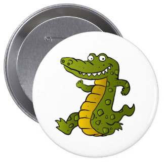 Cartoon crocodile. 4 inch round button