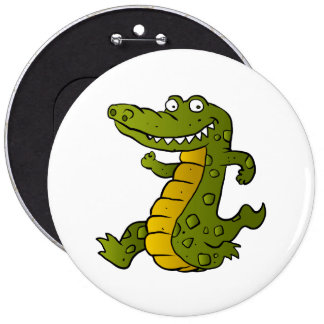 Cartoon crocodile. 6 inch round button