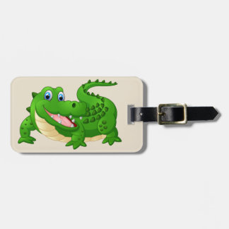 Cartoon Crocodile background Luggage Tag