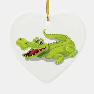 Cartoon Crocodile Ceramic Heart Ornament