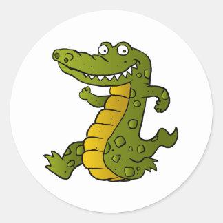 Cartoon crocodile. classic round sticker