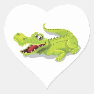 Cartoon Crocodile Heart Sticker