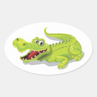 Cartoon Crocodile Oval Sticker