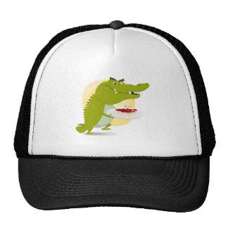 Cartoon Crocodile Set Trucker Hat