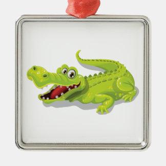 Cartoon Crocodile Silver-Colored Square Ornament