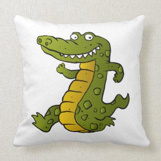 Cartoon crocodile. throw pillow
