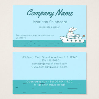 Cartoon Cruise Ship with Smoking Stacks Business Card