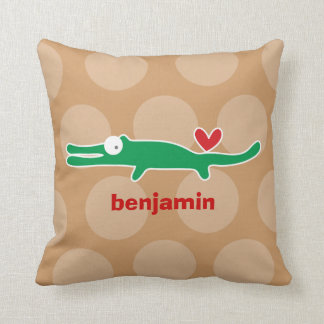 Cartoon Cute Alligator Love Whimsical Kids Cushion Pillows