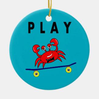 Cartoon Cute Crab on Skateboard Image Round Ceramic Ornament