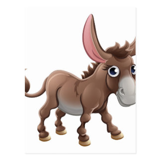 Cartoon Cute Donkey Farm Animal Postcard