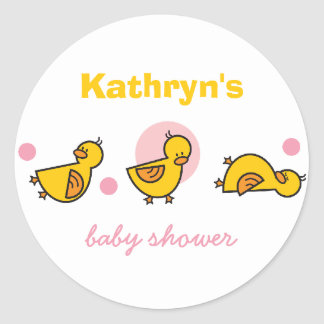 Cartoon Cute Duckies Baby Shower Gift Tag Sticker