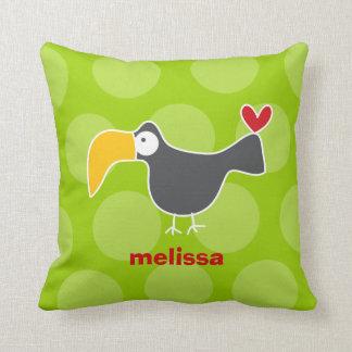Cartoon Cute Toucan Love Whimsical Kids Cushion Throw Pillows