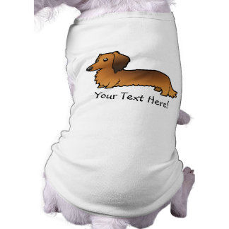 Cartoon Dachshund (longhair) Dog T-shirt