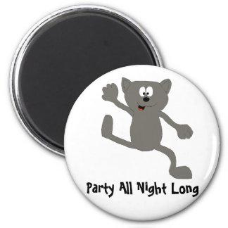 Cartoon Dancing Cat 2 Inch Round Magnet