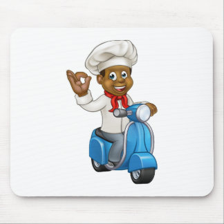 Cartoon Delivery Moped Chef Mouse Pad