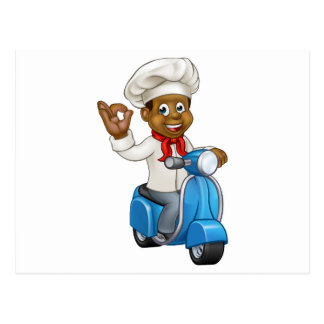 Cartoon Delivery Moped Chef Postcard