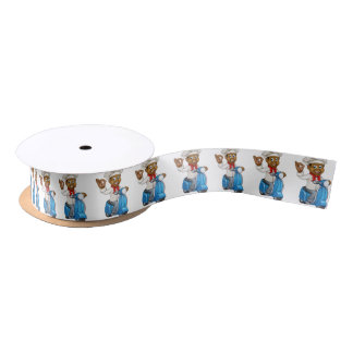 Cartoon Delivery Moped Chef Satin Ribbon