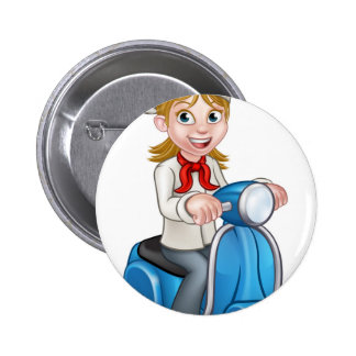 Cartoon Delivery Moped Scooter Chef 2 Inch Round Button