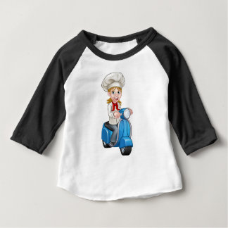 Cartoon Delivery Moped Scooter Chef Baby T-Shirt