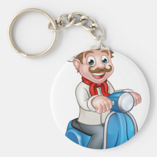 Cartoon Delivery Moped Scooter Chef Basic Round Button Keychain