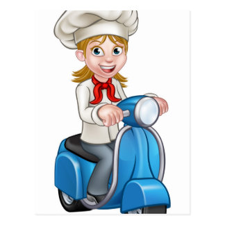 Cartoon Delivery Moped Scooter Chef Postcard