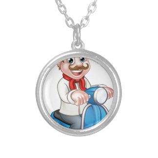 Cartoon Delivery Moped Scooter Chef Silver Plated Necklace