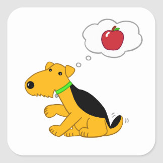 Cartoon Design Airedale Dog Thinking of an Apple Square Sticker