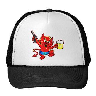 Cartoon Devil Beer Drinking Pistol Shooter Hats