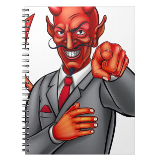 Cartoon Devil Businessman Spiral Notebooks