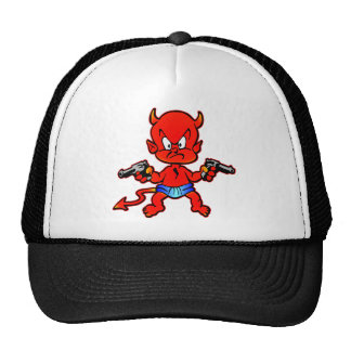 Cartoon Devil Pistol Shooter Tattoo Hats