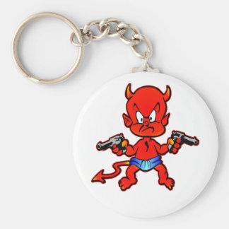 Cartoon Devil Pistol Shooter Tattoo Key Chain