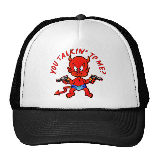 Cartoon Devil Pistol Shooter You Talkin' To Me Mesh Hats