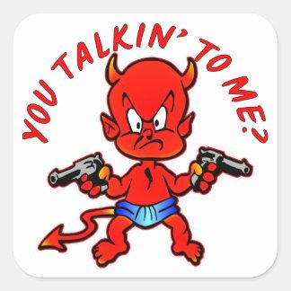 Cartoon Devil Pistol Shooter You Talkin' To Me Square Sticker