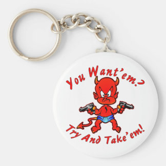 Cartoon Devil Pistol Shooter You Want'em Try Basic Round Button Keychain