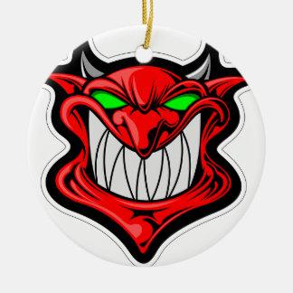 Cartoon Devil Round Ceramic Ornament