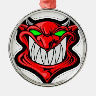 Cartoon Devil Silver-Colored Round Ornament