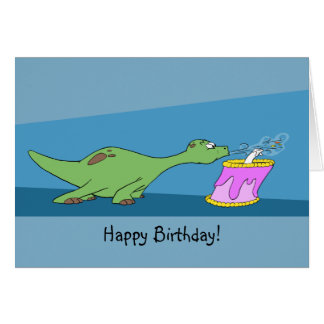 Cartoon Dinosaur Birthday Card