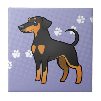 Cartoon Doberman Pinscher (floppy ears) Tile