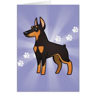 Cartoon Doberman Pinscher (pointy ears) Card