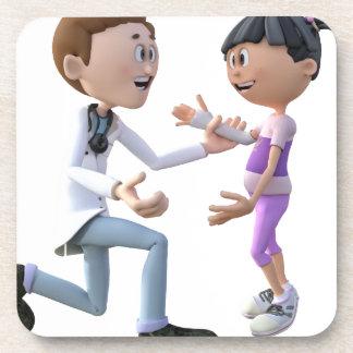 Cartoon Doctor and Patient Drink Coaster