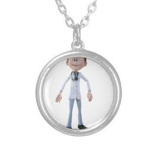 Cartoon Doctor Silver Plated Necklace