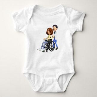 Cartoon Doctor Wheeling Patient In Wheelchair Baby Bodysuit